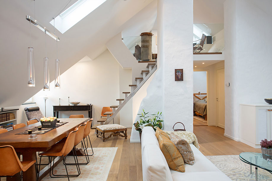 Dining-Living-Space-Loft-Apartment-in-Kungsholmen-Stockholm