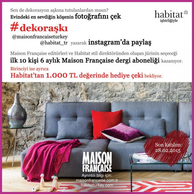 Maison Française Instagram Yarışmaları'nın beşincisi #dekoraşkı