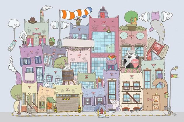 Bir illüstratör, bir mimar, iki şehir ve bir sürü kedi: Cat York City vs Öz Cat City